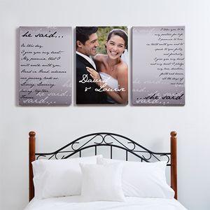 Wedding Vow Photo Split-Panel Canvas - 24x36