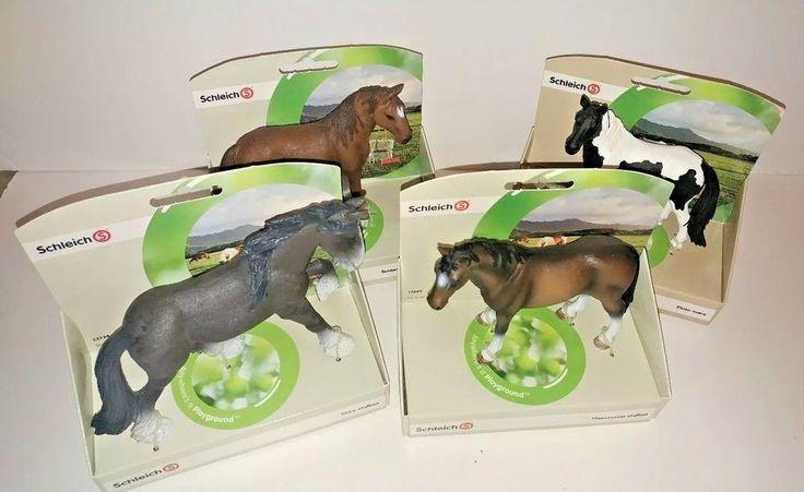 Schleich Horse lot of 4 Shire Stallion Pinto Mare Walker New in Box figurine #Schleich