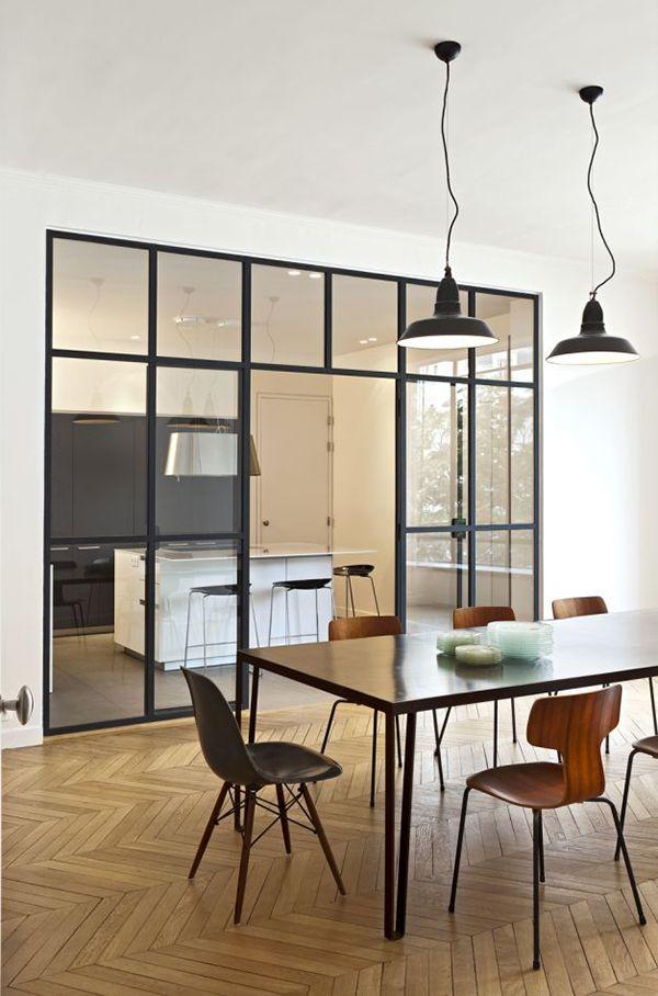kitchen glass door with iron frame... industrial look!