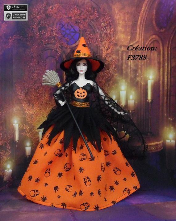 """Robe Barbie """" Halloween N°10 """" Vêtement sorcière d'Halloween pour poupée Barbie…"""