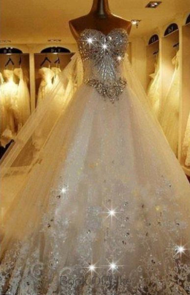 60 best pinterest wedding dress ideas images on pinterest for White sparkly wedding dress