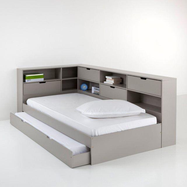 Le lit pin massif + tiroir + niches + sommier à lattes Yann = la recette d'une chambre ordonnée et un budget allégé ! Ce lit est prêt à être peint, si vous le souhaitez vous pouvez aussi le customiser selon vos envies. Descriptif du lit complet Yann :Couchage 90 x 190 cm.1 tiroir-lit pour couchage d'appoint 90 x 190 cm.Ensemble rangement comprenant 1 grande niche + 2 petites.Rangement sur le côté : 3 casier de rangement + 3 niches posés en diagonale.Casiers de rangement fermés par porte à…