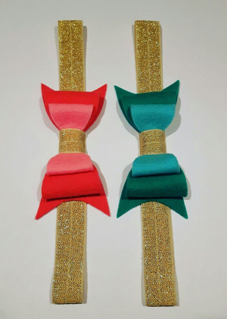 Haarband van glitterelastiek en vilt #meisje #haarband #feest #vilt #blinkertjes