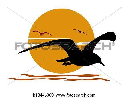 περίγραμμα, από, γλάροσ, επάνω, θάλασσα, ηλιοβασίλεμα Δείτε Γραφικό Κλιπ Αρτ Μεγάλου Μεγέθους