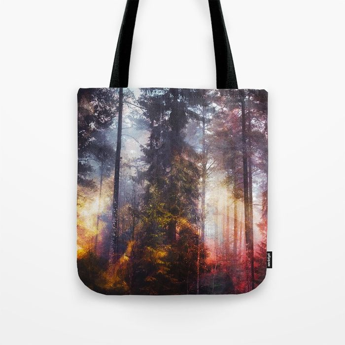 Warm fuzzy feelings Tote Bag by happymelvin. #bags #nature #forests #colorful #totebags