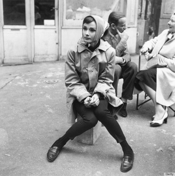Cigarette pants, trouser socks, loafers, trench coat, head scarf, Audrey Hepburn, perfection.