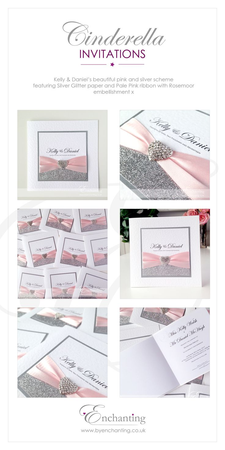 colour schemes pink cinderella wedding invitations Pale Pink and Silver Wedding Invitations The Cinderella Collection Classic Fold Invite Featuring