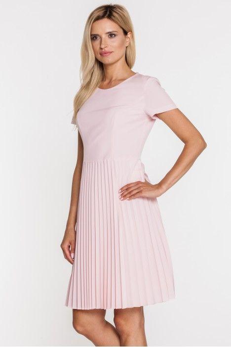 Różowa sukienka z plisowanym dołem - Bialcon - Bialcon - Odzież damska Balladine.com - Polska Moda Online