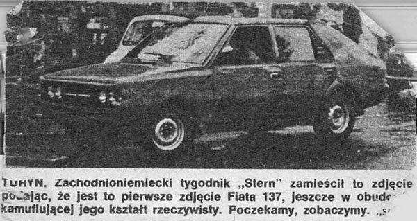 Zamaskowany Fiat 137 a w rzeczywistości Polonez o którym w Polsce będzie głośno dopiero za parę lat.