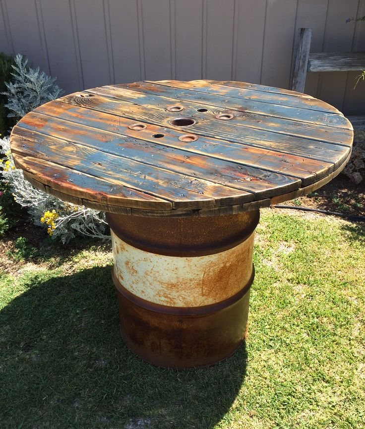 pub table upcycled from a 55 gal drum and a piece of a. Black Bedroom Furniture Sets. Home Design Ideas