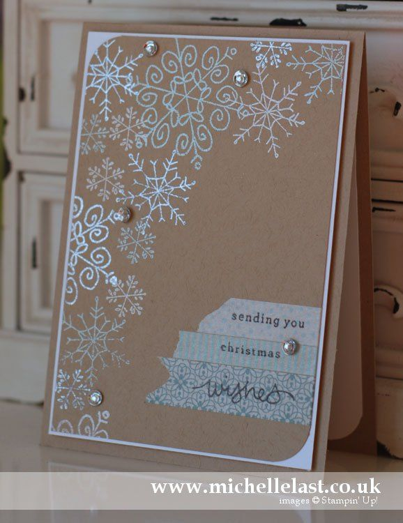 Love the kraft cardstock with the soft colors of washi tape and the 3 colors of embossing powder