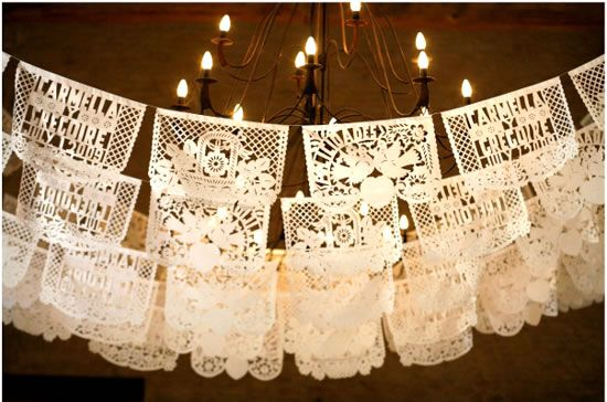 Beautiful high quality Mexican wedding papel picado (cut paper) banners & banderitas