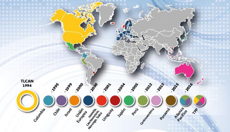 México cuenta con 12 Tratados de Libre Comercio