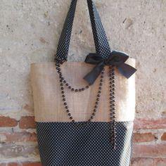Grand sac cabas en toile de jute naturelle et coton noir motifs petits pois entièrement doublée