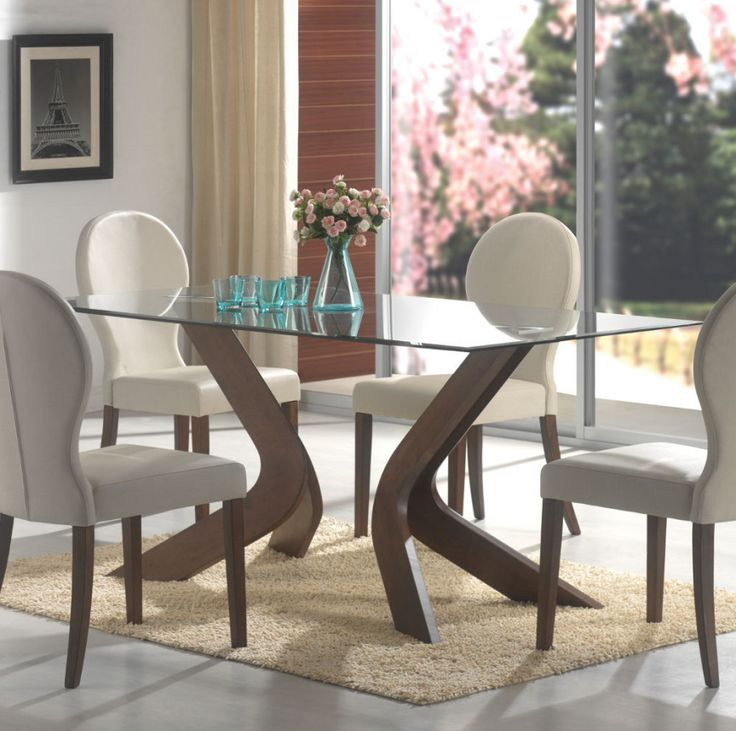Set With Rectangular Glass Top And Dirty Wooden Base Dining Table .