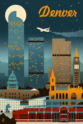 Denver, Colorado - Retro Skyline - Lantern Press Poster   Retro #Colorado   ColoRADICAL