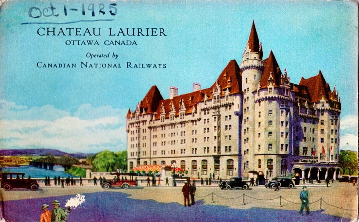 "A quiet chateau, between Parliament and the city center  ""Quiet"" is, of course, subjective    djgagnon:  Chateau Laurier Hotel  Built between the Grand Trunk Railway Terminal and Canada's Parliament, the Chateau Laurier was very well located. Built between 1909 and 1912, the Hotel's opening was delayed and subdued as Grand Trunk President Charles Melville Hays died on the Titantic on April 15, 2012.  This postcard shows the 1912 unoxidized copper roof, but it also shows the 1923 corporate"