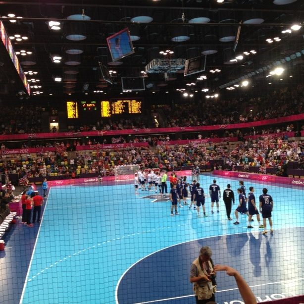 Team GB about to take the court in handball trial. Watch those goals.