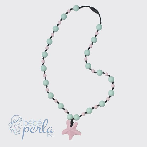 Silicone teething necklace - Starlight Arielle Pink www.bebeperla.com