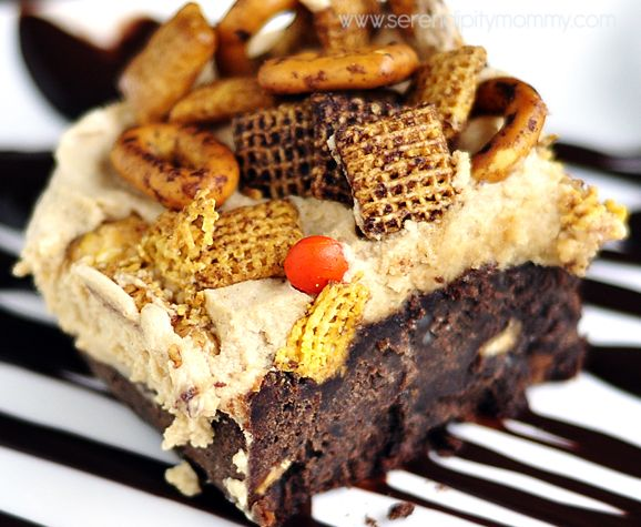 Happy Ending Brownies | Cocoa Brownies, peanutbutter frosting and turtle chex mix: Dessert Recipes, Sweet Tooth, Sweet Stuff, Favorite Recipes, Food Brownies, Chocolate Brownies, Happy Endings, Cooking Recipes, Baking Sweets