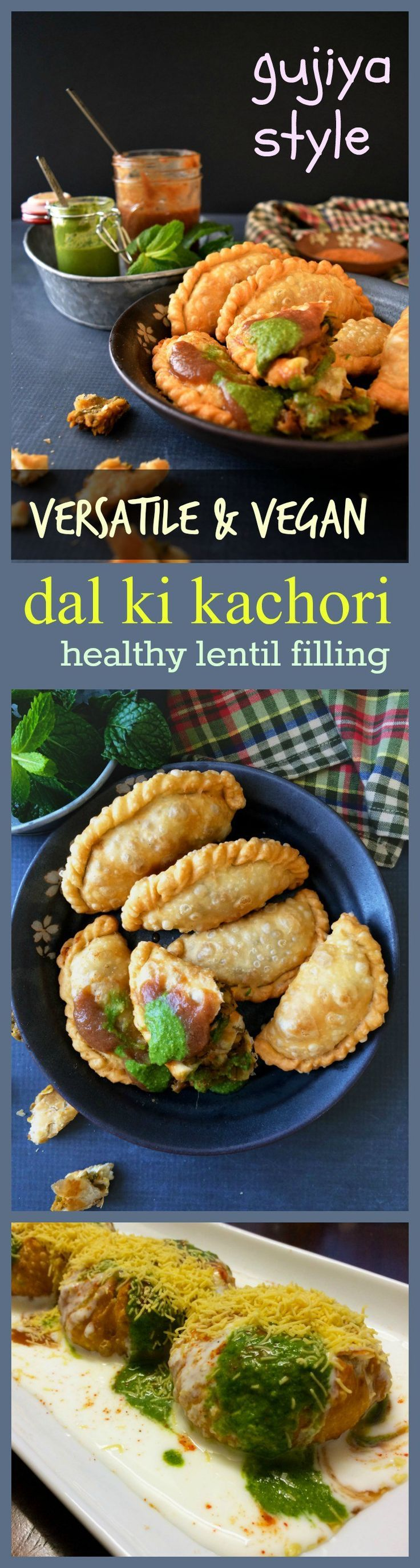 easy dal ki kachori - gujiya style holi special with spicy vegan lentil filling . Step by step pictorial given.