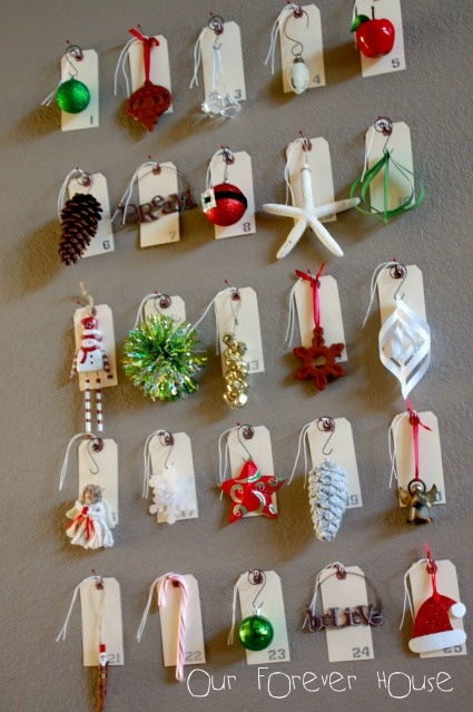 Advent calendar using your own ornaments (or make new ones)