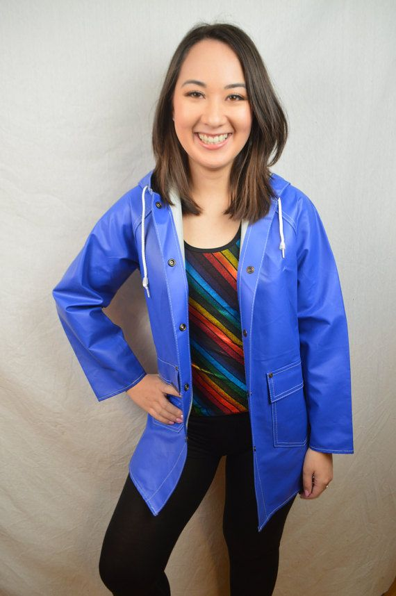 Vintage 80s 1980s Cute Blue Raincoat Jacket by by RogueRetro