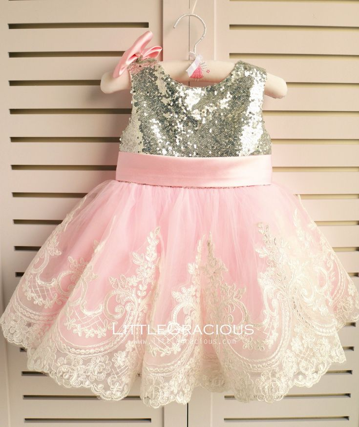 Silver sequins Lace Back Couture Flower Girl Dress, Toddler Pageant Dr – LittleGracious