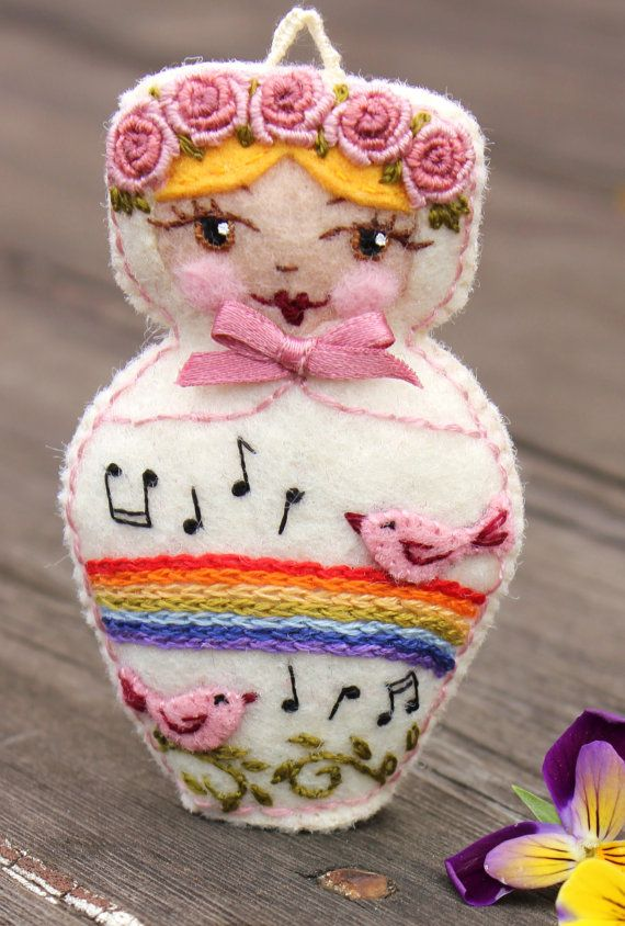 Love the embroidered roses at top Matryoshka  Hand Embroidered Felt with by TheSnowQueensGarden, $19.50