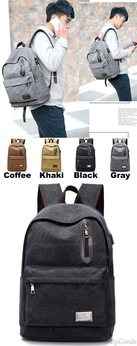 Cool Pure Washing Color Large School Bag USB Interface Zipper Decor Canvas Backpacks for big sale! #Backpack #canvas #school #college #student
