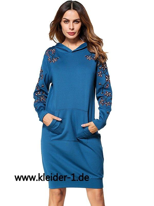 Langer Damen Pullover in Blau mit Muster