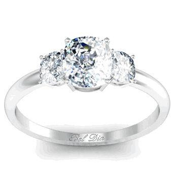 Cushion Three Stone Engagement Ring - click to enlarge
