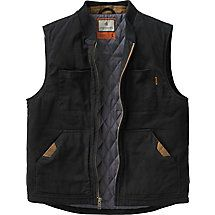 Rugged with a broken-in feel, this unique vest is made from heavy duty soft-washed 100% cotton canvas with a warm insulated lining.  Features two interior chest pockets designed specifically for left or right handed concealed carry that will handle from sub-compact to full size semi-auto handguns.  Reinforced shoulder area to help handle full-size handguns, plus two extra clip pockets with snap closure.  High quality Signature Buck metal zipper.
