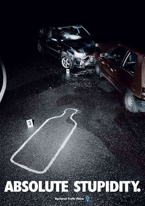 Absolut stupidity adbuster campaign from Bucharest Traffic Police