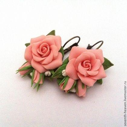 Серьги ОБАЯНИЕ - бледно-розовый,персиковый,лососевый,серьги с цветами