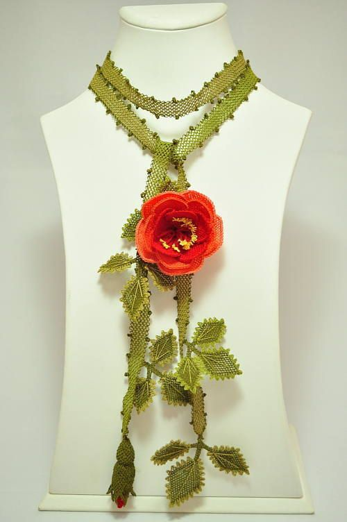 OYA Silk Needle Lace Necklace Hand Made Turkish Oya by OYASHOP, $160.00