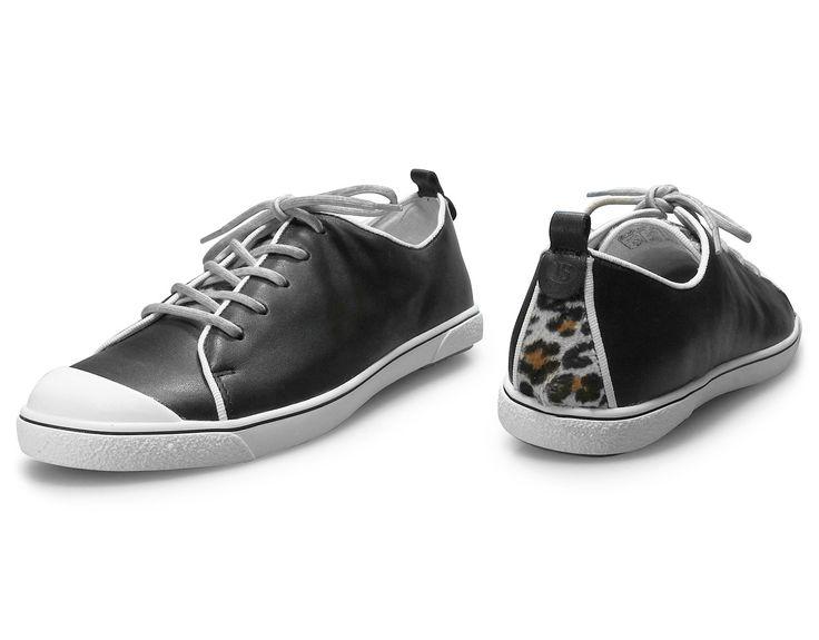 Josef Seibel Women's Lilo 17 in black. Fashion sneakers with leopard print.