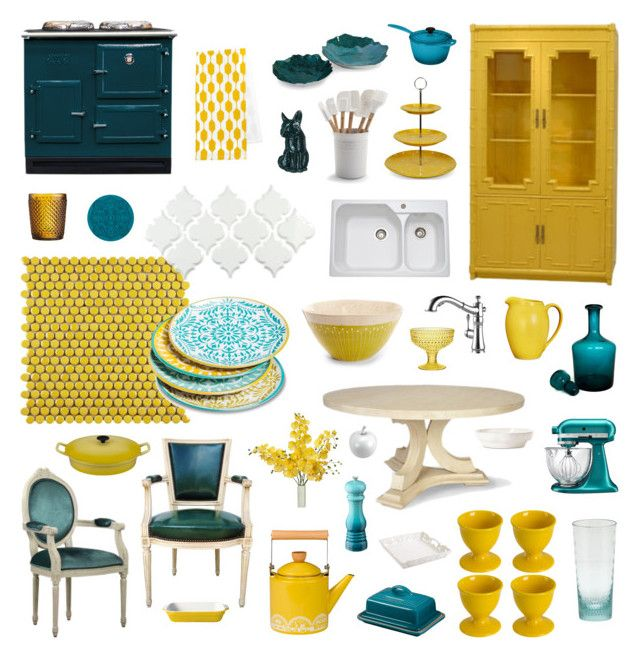 """yellow + teal kitchen"" by crystalliora ❤ liked on Polyvore featuring interior, interiors, interior design, home, home decor, interior decorating, Merola, Maxwell & Williams, Le Creuset and GAS Jeans"