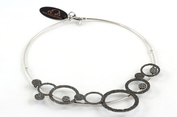 Elegant Circle / Rigid Choker necklace - Collier in sterling silver. Collana girocollo in argento, dainty minimal necklace, minimal collar di EOScollection su Etsy