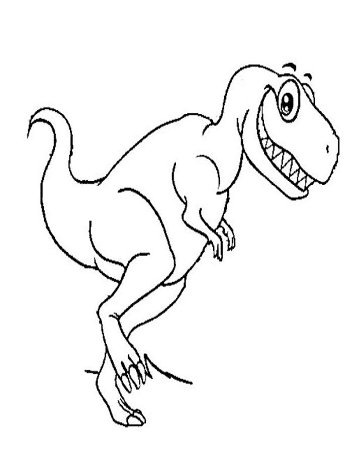 Dibujo colorear Tiranosaurio Rex sonriendo
