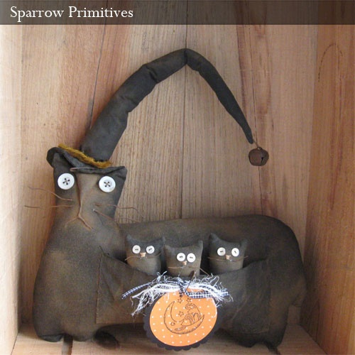 Primitive Witch Cat & Kittens by Sparrow Primitives, via Flickr