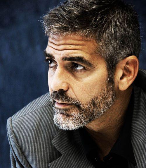 hi honey pie: Grey Hair, Eye Candy, George Clooney, But, Hairstyles, Beards Style, Dark Brown Eye, Facials Hair Style, Hair Care