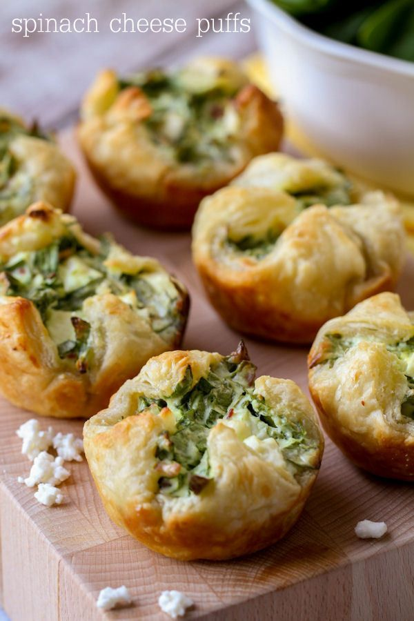 Filled with Feta, Bacon Bits, cheese and spinach - you can get wrong with these Spinach Puffs!