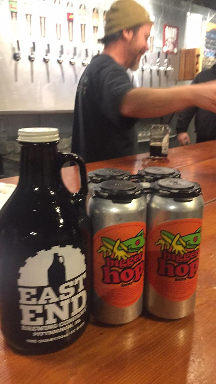 East End Brewing Co. Pittsburgh PA - Signed up to volunteer to bottle beer yesterday and this was my generous take-home pay. Bigger Hop IPA 16oz. and the growler contains Black Hop head brewer in the background. #FavoriteBeers #summershandy #beers #footy #greatnight #beer #friends #craftbeer #sun #cheers #beach #BBQ