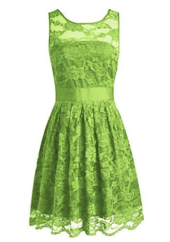 Yougao Women's Floral Lace Dresses Short Bridesmaids Evening Party Dresses Lime Green US 18W $49.99
