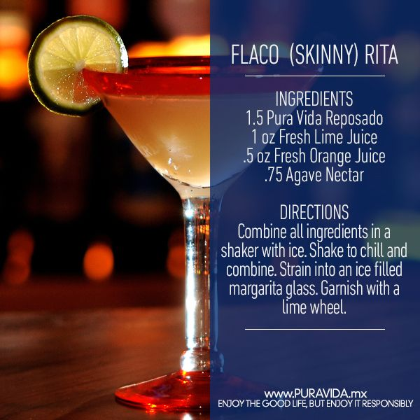 Stay #skinny with this Flaco Rita #recipe! #cocktail #drink #tequila #margarita #skinnymargarita