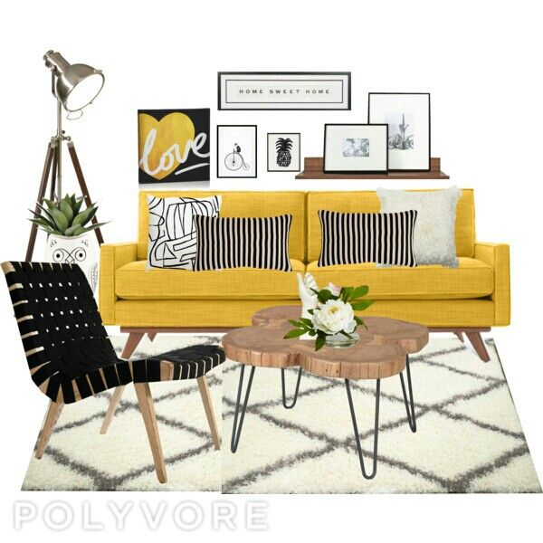 Living room yellow with black and white color scheme