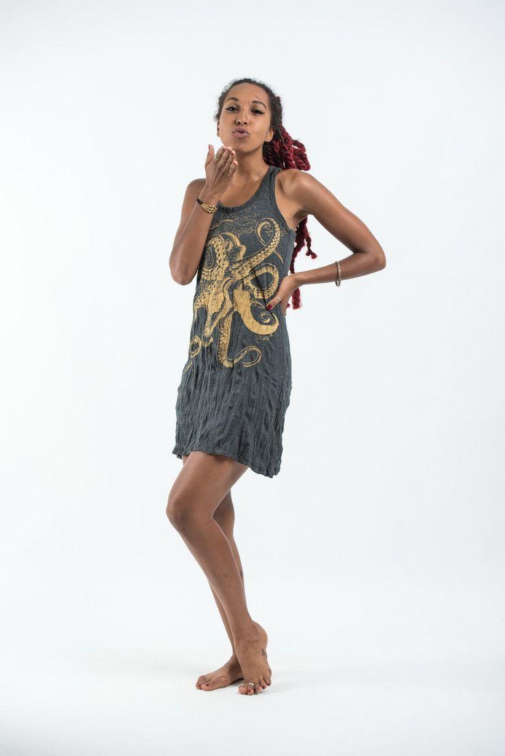 Sure Design Womens Octopus Tank Dress Gold on Black