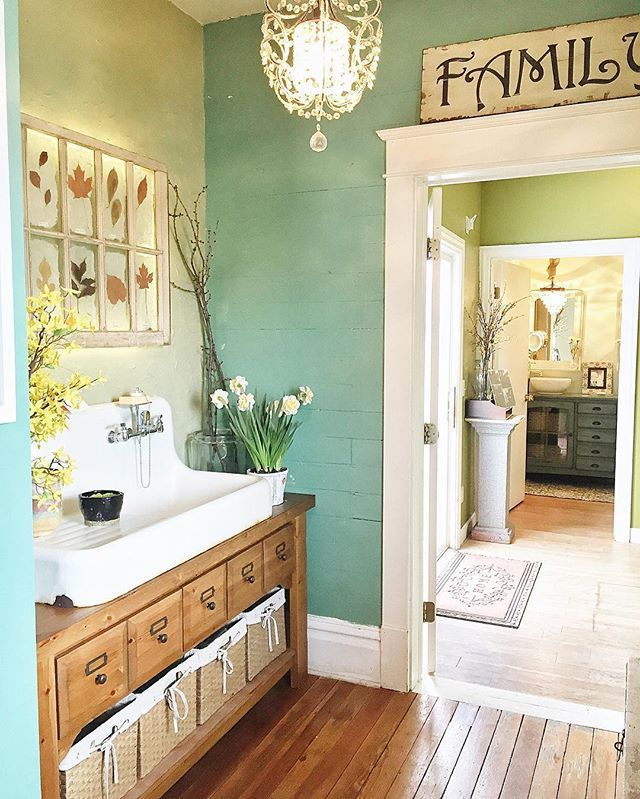 Mud room sink area. Great farmhouse style mudroom idea to have a sink for easy clean up!