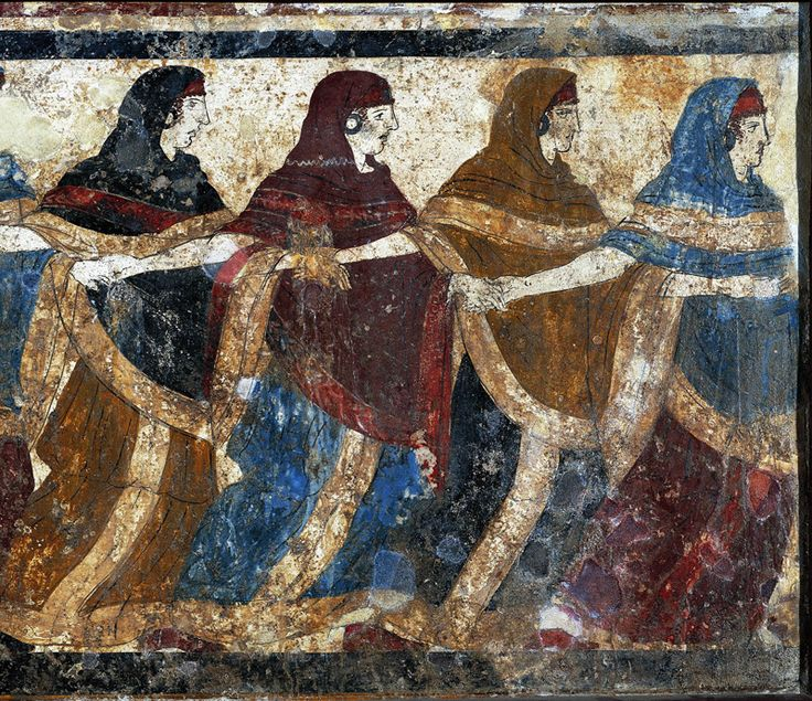 Etruscan Fresco. From 'The Tomb Of The Dancers'- ca 6th c. BC. Excavated in 1833 at Ruvo di Puglia, Apulia, Italy. It is not only one of the most magnificent artistic expressions of indigenous cultures in S.Italy, but also one of the most evident signs of the adoption by the local elites of some of the deepest most advanced components of Greek culture
